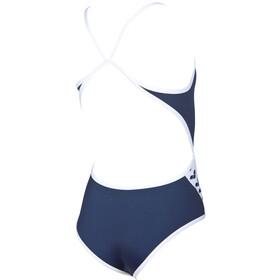 arena Team Stripe Super Fly Back One Piece Swimsuit Meisjes, navy-white